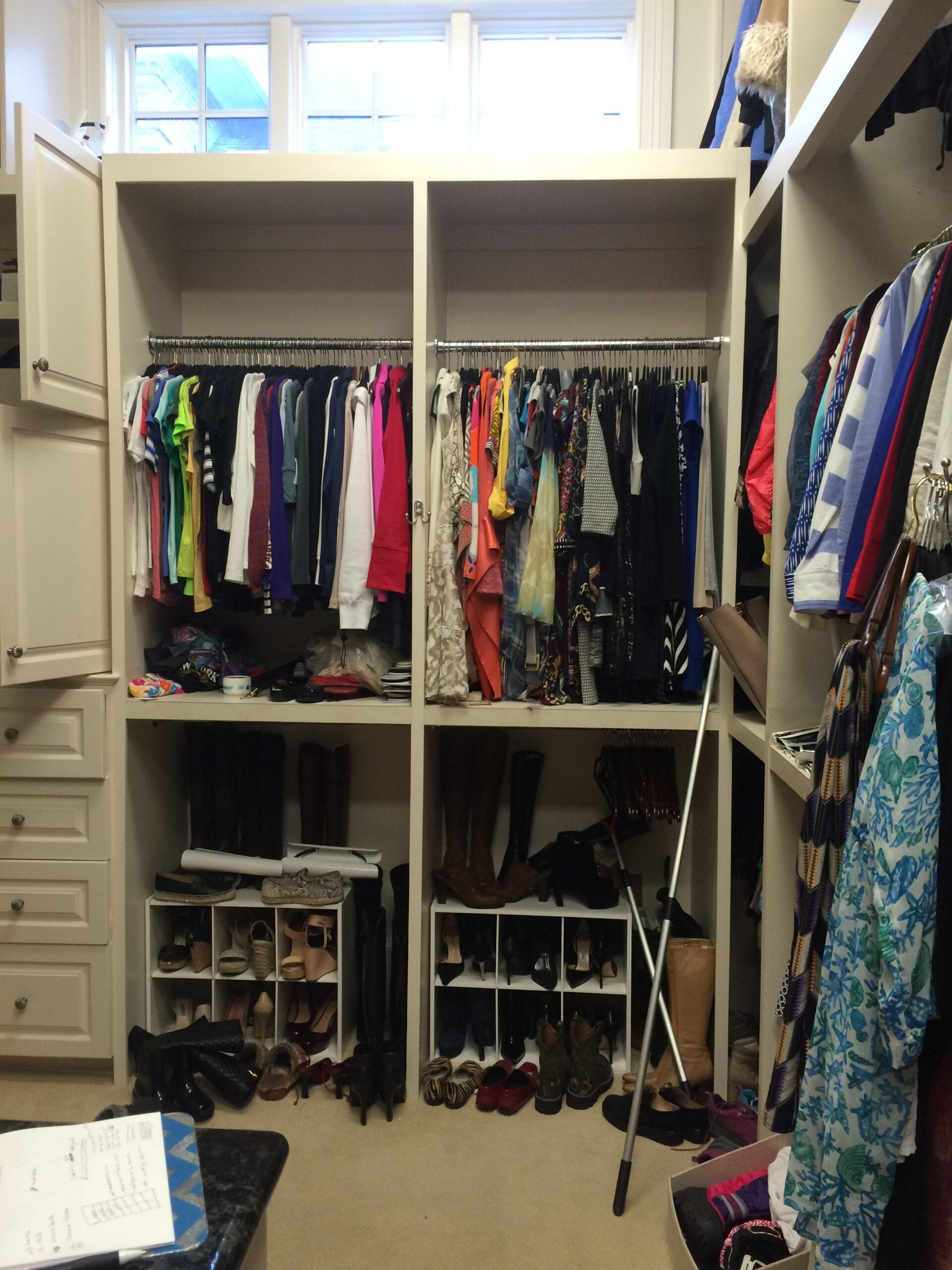 disorganized full closet